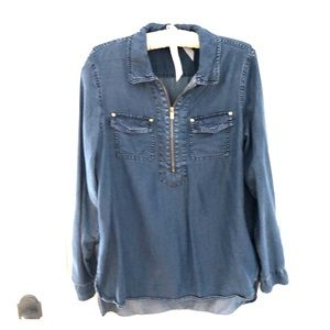 Quarter zip Denim shirt by Ellen Tracy